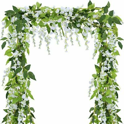2X Artificial Wisteria Flower Vine Fake Flowers Ivy Plant Garland Green Leaves • 6.23£