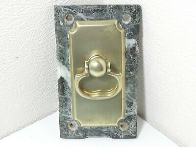 Antique Servants Wall Door Bell Pull Brass Reclaimed On Green Marble Base • 85£