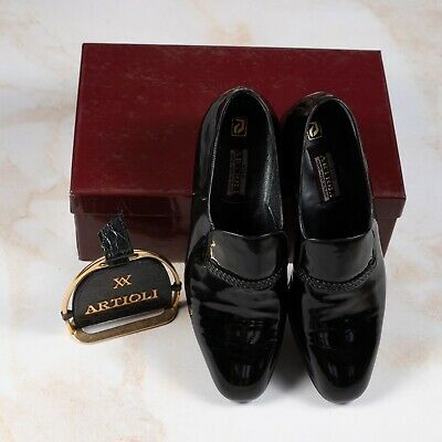 $ CDN400.89 • Buy NWB $1850 ARTIOLI Patent Leather Shoes Black 9UK/10US/43EU Made In Italy G Width