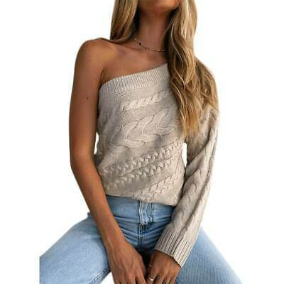 Womens One Off The Shoulder Long Sleeve Sweater Casual Pullover Tops Blouse UK • 15.19£