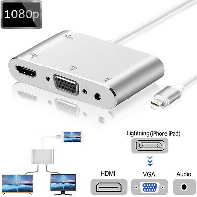 Lightning To HDMI VGA AV Audio Video Adapter Cable For IPad IPhone 11 8 7 6S XS • 15.99£