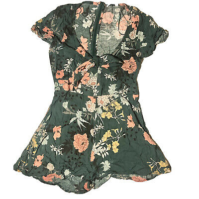 AU13 • Buy Pull And Bear Green Floral Playsuit