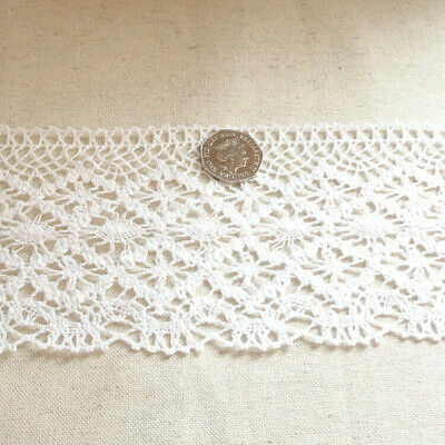 100% Cotton Crochet Style Lace - 100mm Wide - 2 Colours Available- Sold By Metre • 3.49£