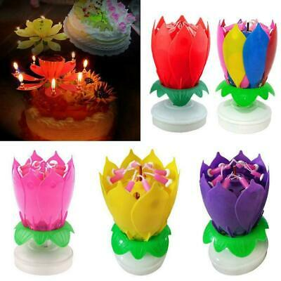 $ CDN6.68 • Buy Musical Birthday Candle Lotus Flower Rotating Spin Cake Topper Magic Party D7L3