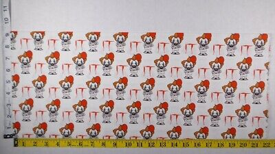 £5.70 • Buy Pennywise IT Clown Horror Movie Fabric 9 X 21.5  Fat Eighth