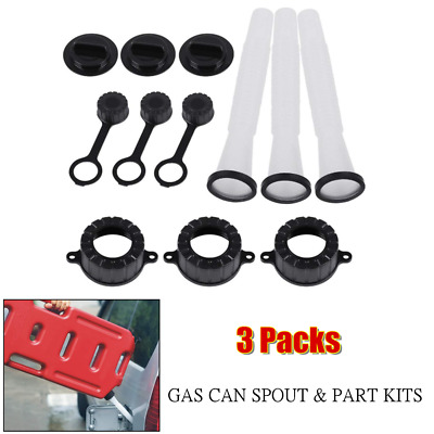 $21.59 • Buy 3Pack Car Gas Fuel Jerry Can Spout & Parts Kit Vent Cap Gasket For Old Water Jug