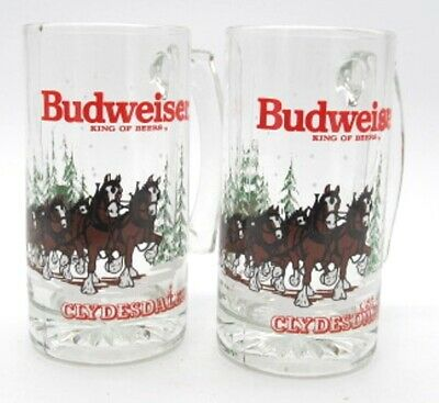 $ CDN26.11 • Buy Budweiser King Of Beers Clydesdale Horses W/ Wagon 1989 Christmas Mugs Set Of 2