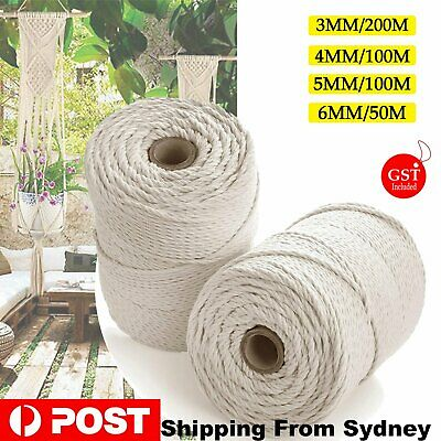 AU16.99 • Buy 3/4/5/6 Mm Macrame Rope Natural Beige Cotton Twisted Cord Artisan Hand Craft