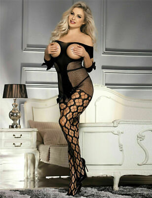 Sexy Open Bust Bodystocking Crotchless Plus Size Lingerie Fishnet Bodysuit Women • 4.88£