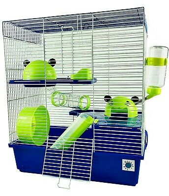 Calypso Extra Large 51 Cm Syrian Dwarf Hamster Cage Blue And Lime Green 3 Storey • 37.99£