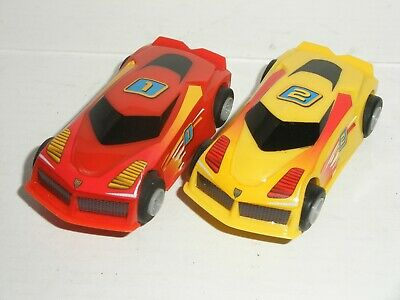 MICRO Scalextric - Pair Of Hyper Cars (Red #1 / Yellow #2) - Exc. Cdn. • 9.97£