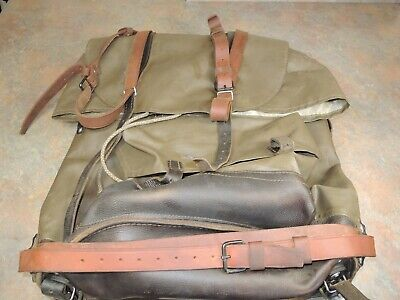 RARE Swiss Army Military Backpack Rucksack Canvas Leather Vintage 1960's VTG • 61.55£