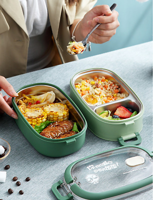 2Layers Thermal Insulated Lunch Box Picnic Fruit Food Container Case Tableware • 14.99£