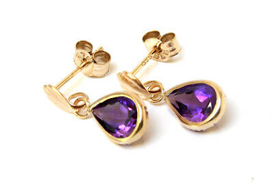 9ct Gold Amethyst Teardrop Earrings Small Drop Gift Boxed Made In UK • 34.99£