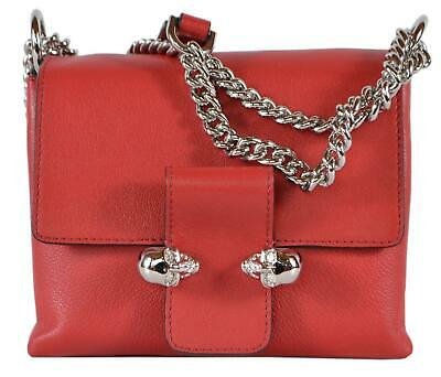AU790.31 • Buy New Alexander McQueen $1,695 497630 Red Leather Twin Skull Crossbody Purse Bag