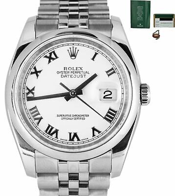 $ CDN8238.26 • Buy 2008 Rolex DateJust White Roman 36mm 116200 Stainless Steel Jubilee Smooth Watch
