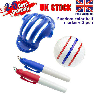 Golf Ball Line Marker Drawing Putting Stencil Template Random With Pen New YUA • 3.59£