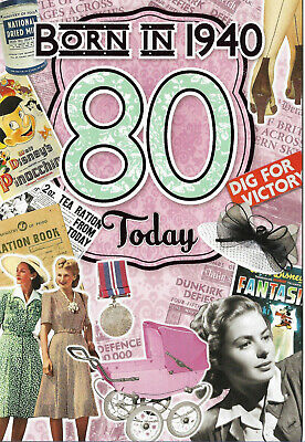80th Birthday Female Year You Were Born Card With Facts About1940 • 2.94£