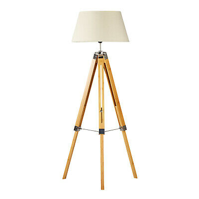 AU129 • Buy Natural Bamboo Tripod Floor Lamp With Beige Linen Shade