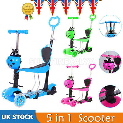 5 In 1 Kids Push Scooter Toddler Beginner 3 Wheel Kick Scooters Adjustable Seat • 21.84£