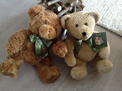 2 HARRODS Bears 11  KOHAIR Blond Bear And HOWARD Honey Brown With Original Tags • 9.95£