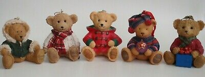 Harrods 2001 2002 2003 2004 & 2005 Resin Teddy Bear Christmas Tree Decoration • 149.99£