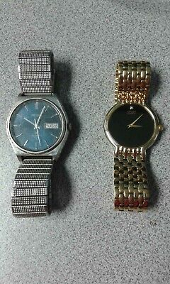 $ CDN174.28 • Buy Lot Of 2 Vintage Watches Silver Seiko Gold Citizen With Diamond Free Shipping!!