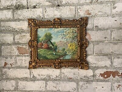 Vintage Italian Elaborate Picture Frame Gold With Print Gold Baroque Rococo • 30£