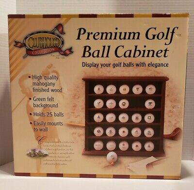 Golf Ball Mahogany Display Cabinet Holds 25 Balls Open Box • 15.96£