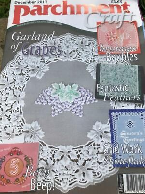 Parchment Craft Magazine December 2011 Cards, Snowflake, Baubles, Garland Purse • 3£
