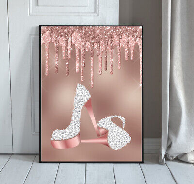 Rose Gold Shoes PRINT Diamante Pink Digital GLITTER  Bedroom Wall Art No Frame 1 • 5.49£