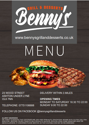 Restaurant Takeaway Food Menu Leisure Price List A4 Leaflet Design (Half/Z Fold) • 35£