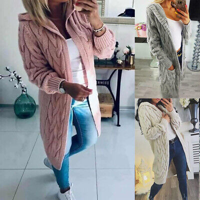 New Womens Chunky Cable Knitted Oversized Longline Hooded Cape Ladies Cardigan • 21.59£