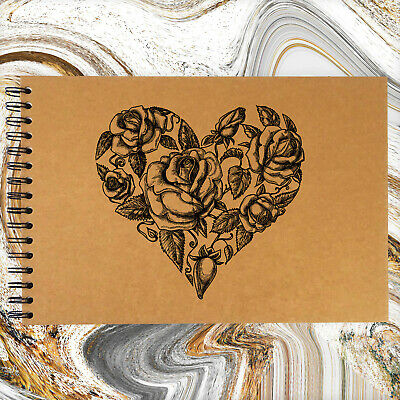 A3/A4/A5, Flower Vintage Heart, Scrapbook, Guestbook, Photo Album, Card Pages • 6.99£