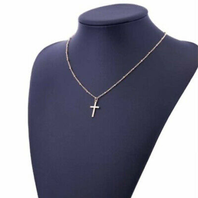 Silver Gold Cross Pendant Necklace Steel Gold Unisex's Chain Crucifix Women Gift • 4.18£