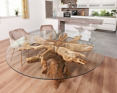 Reclaimed Teak Root TREE Root Glass Top Dining Table Round Saturday Kitchen • 1,299£