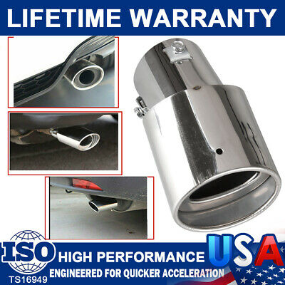 $10.99 • Buy Car Chrome Stainless Steel Rear Round Exhaust Pipes Tail Muffler Tip Accessories