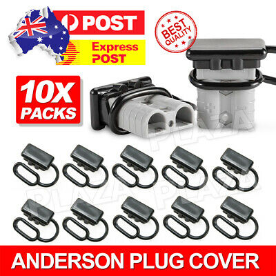 AU12.85 • Buy 10x For Anderson Plug Cover Style Connectors 50AMP Battery Caravn Black Dust Cap