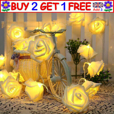 10-50 LED Rose Flower Battery Fairy Lights String Wedding Xmas Party Home Decor • 4.79£