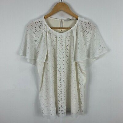 AU22.95 • Buy Country Road Womens Top Size Large White Flared Short Sleeve Round Neck