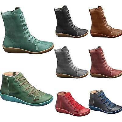 2020 Women Autumn Arch Support Ankle Boots Side Zip Wedge Heel Flat Casual Shoes • 14.39£