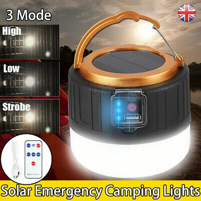 USB Solar LED Camping Lights Rechargeable Portable Emergency Camping Lantern • 9.99£