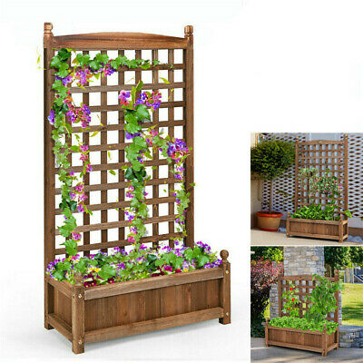 Heavy Duty Wooden Garden Planter Plant Flowerpot Box & Trellis Flower Raised Bed • 35.93£