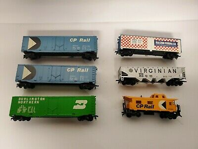 $ CDN28 • Buy HO Scale Tyco Trains Lot Of 6 Freight Box Cars Caboose Coal Open Top Hopper