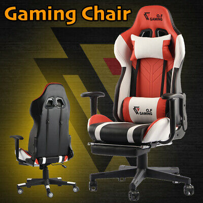AU199.95 • Buy QF Gaming Chair Office Seating Racing Computer PU Leather Executive Racer Footre