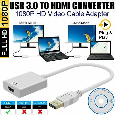 1080P USB 3.0 To HDMI HD Video Adapter Converter Cable For HDTV  TV PC Laptop UK • 7.69£
