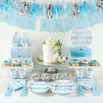 £5.75 • Buy Welcome Baby Boy, Baby Shower, Blue, Silver, Party, Christening, Tableware Games