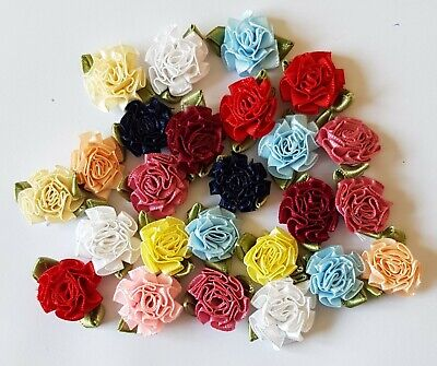 Small Satin Ribbon Flowers With Leaves.  Assorted Colours X 25 • 1.75£