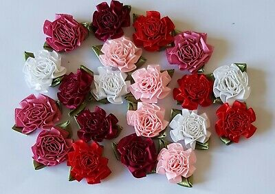 Medium Satin Ribbon Flowers With Leaves.  Assorted Colour X 20 • 1.75£