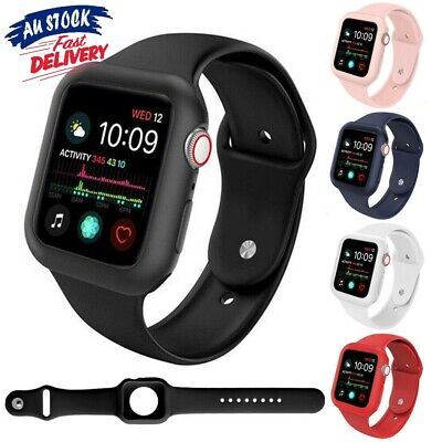 AU13.99 • Buy Silicone Watch Band Case Protect Cover Strap 40/44mm For Apple Watch Series 6 5